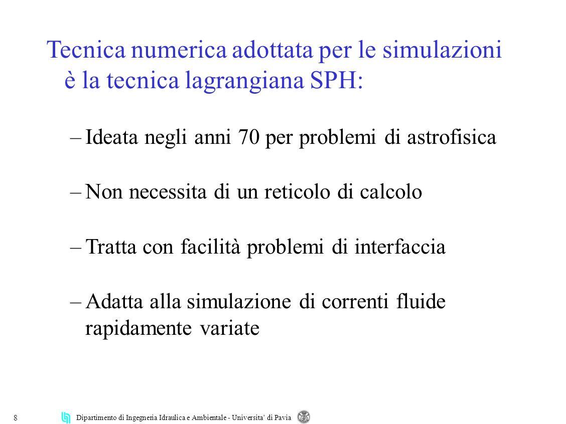 Dipartimento di Ingegneria Idraulica e Ambientale - Universita di Pavia 8 Tecnica numerica adottata per le simulazioni è la tecnica lagrangiana SPH: –