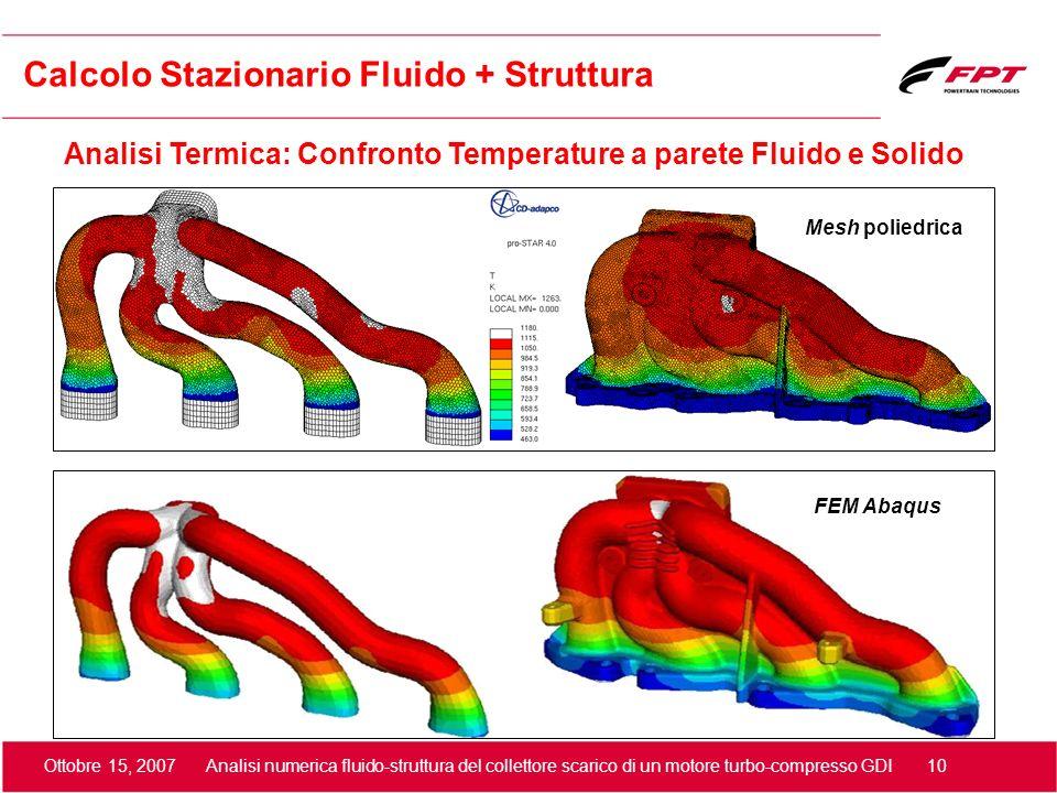 Ottobre 15, 2007 Analisi numerica fluido-struttura del collettore scarico di un motore turbo-compresso GDI 10 Calcolo Stazionario Fluido + Struttura A