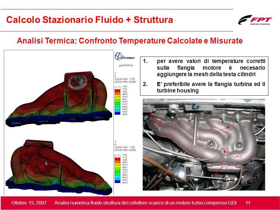 Ottobre 15, 2007 Analisi numerica fluido-struttura del collettore scarico di un motore turbo-compresso GDI 11 Calcolo Stazionario Fluido + Struttura A