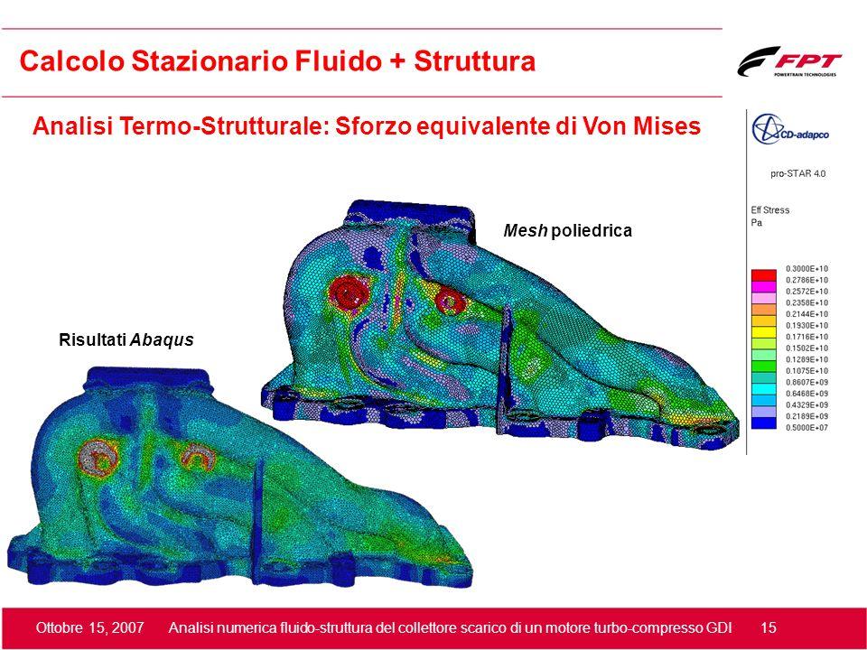 Ottobre 15, 2007 Analisi numerica fluido-struttura del collettore scarico di un motore turbo-compresso GDI 15 Mesh poliedrica Risultati Abaqus Calcolo
