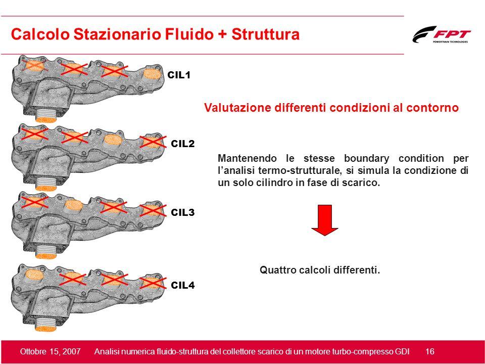Ottobre 15, 2007 Analisi numerica fluido-struttura del collettore scarico di un motore turbo-compresso GDI 16 Valutazione differenti condizioni al con