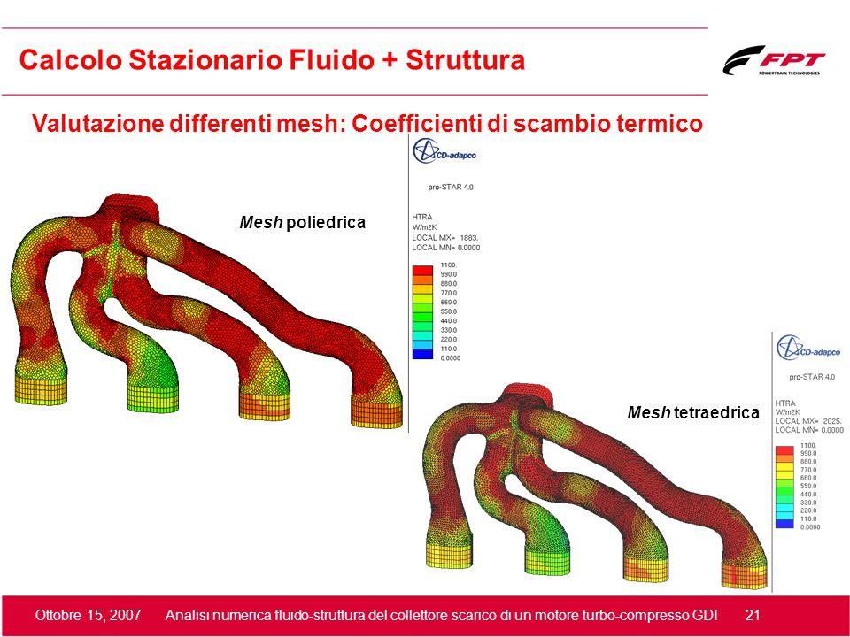 Ottobre 15, 2007 Analisi numerica fluido-struttura del collettore scarico di un motore turbo-compresso GDI 21 Valutazione differenti mesh: Coefficient