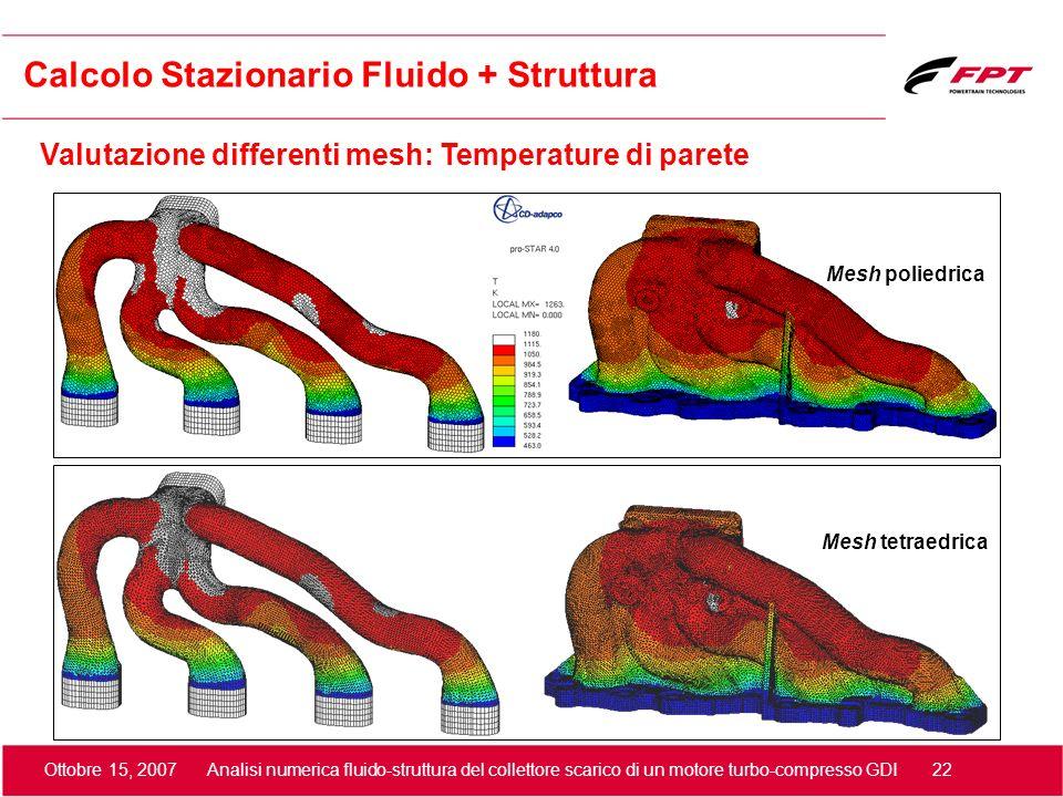 Ottobre 15, 2007 Analisi numerica fluido-struttura del collettore scarico di un motore turbo-compresso GDI 22 Valutazione differenti mesh: Temperature