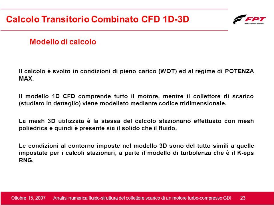 Ottobre 15, 2007 Analisi numerica fluido-struttura del collettore scarico di un motore turbo-compresso GDI 23 Modello di calcolo Calcolo Transitorio C