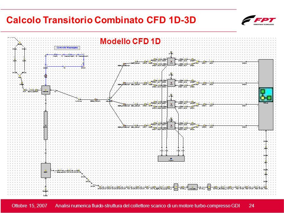 Ottobre 15, 2007 Analisi numerica fluido-struttura del collettore scarico di un motore turbo-compresso GDI 24 Modello CFD 1D Calcolo Transitorio Combi