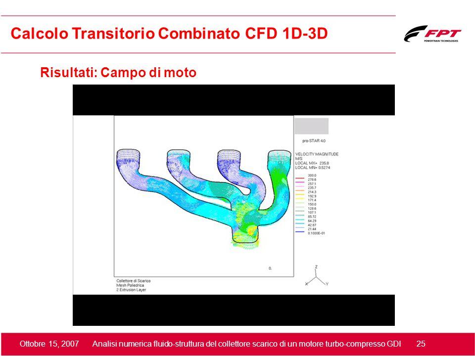 Ottobre 15, 2007 Analisi numerica fluido-struttura del collettore scarico di un motore turbo-compresso GDI 25 Risultati: Campo di moto Calcolo Transit