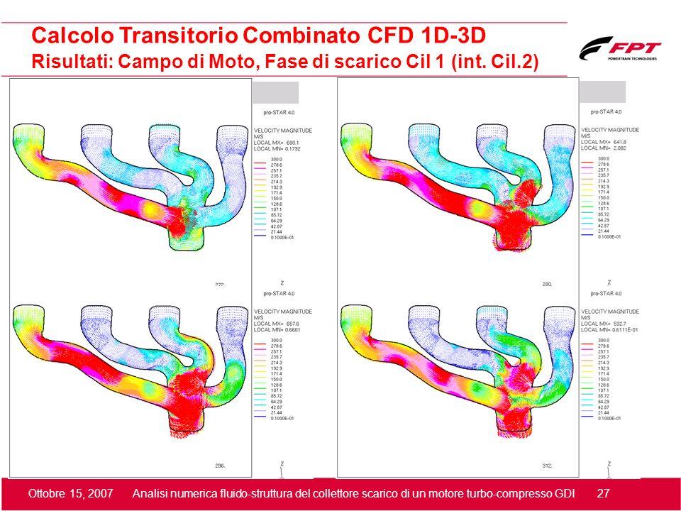 Ottobre 15, 2007 Analisi numerica fluido-struttura del collettore scarico di un motore turbo-compresso GDI 27 Risultati: Campo di Moto, Fase di scaric