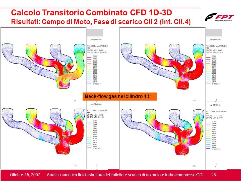 Ottobre 15, 2007 Analisi numerica fluido-struttura del collettore scarico di un motore turbo-compresso GDI 28 Risultati: Campo di Moto, Fase di scaric