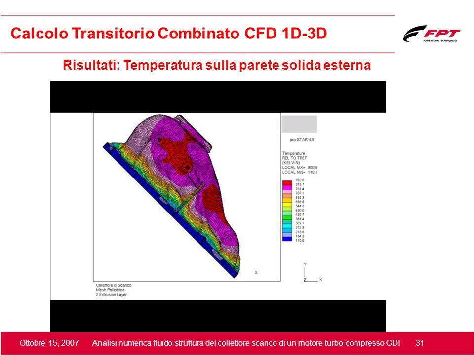 Ottobre 15, 2007 Analisi numerica fluido-struttura del collettore scarico di un motore turbo-compresso GDI 31 Risultati: Temperatura sulla parete soli