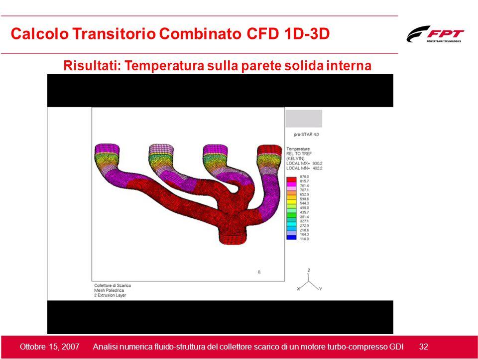 Ottobre 15, 2007 Analisi numerica fluido-struttura del collettore scarico di un motore turbo-compresso GDI 32 Risultati: Temperatura sulla parete soli