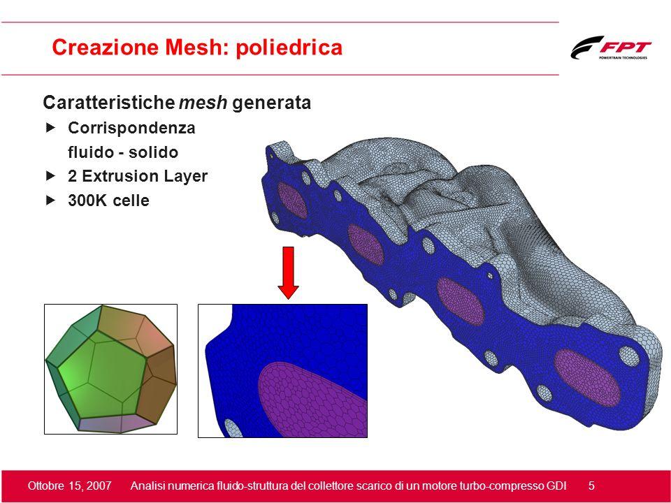 Ottobre 15, 2007 Analisi numerica fluido-struttura del collettore scarico di un motore turbo-compresso GDI 5 Creazione Mesh: poliedrica Caratteristich