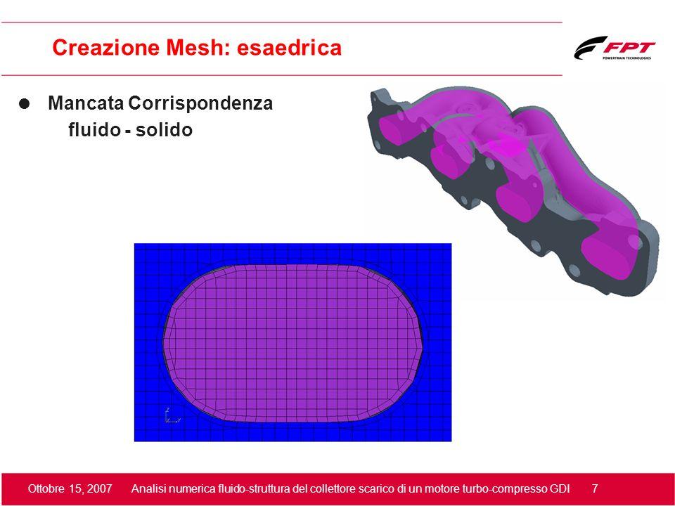 Ottobre 15, 2007 Analisi numerica fluido-struttura del collettore scarico di un motore turbo-compresso GDI 8 Calcolo Stazionario Fluido + Struttura Analisi Termica Proprietà fisiche fluido: CO2 Densità f=f(T,p) Viscosità molecolare, conduttività termica e calore specifico f=f(T) Modello di turbolenza k-epsilon Hi-Re Proprietà fisiche solido Densità, conduttività termica e calore specifico Abilitazione scambio fluido-solido Condizioni al contorno: boundary Fluido: Pressure Solido: Wall