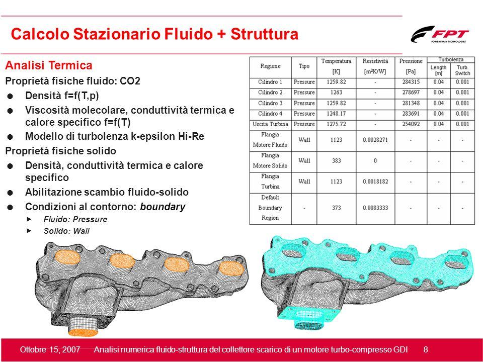 Ottobre 15, 2007 Analisi numerica fluido-struttura del collettore scarico di un motore turbo-compresso GDI 9 Calcolo Stazionario Fluido + Struttura Analisi Termica: Campo di moto ed Y+