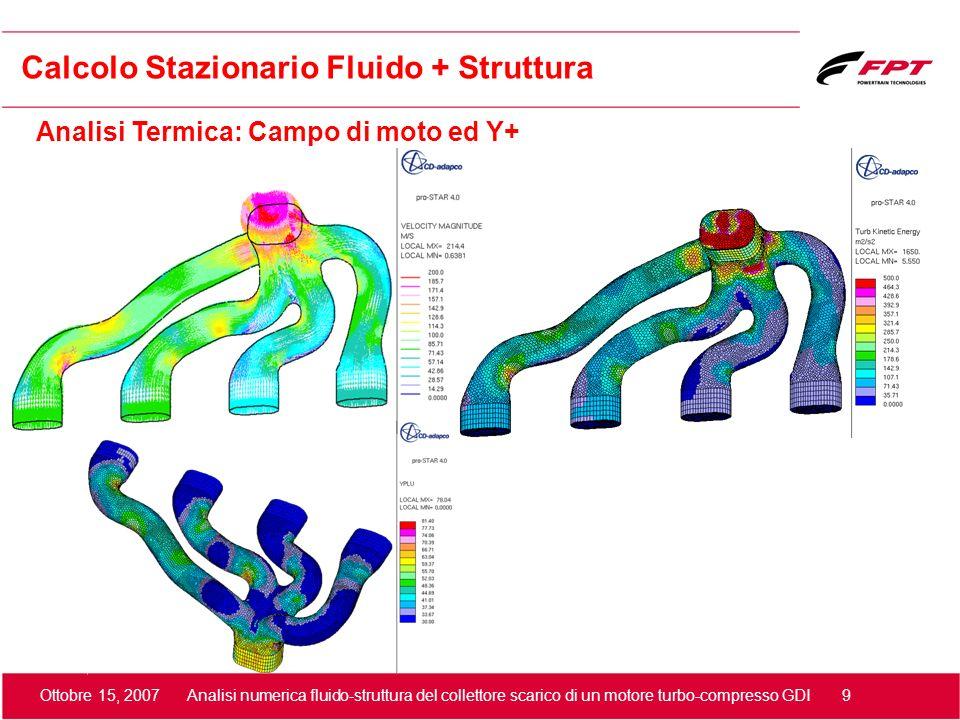 Ottobre 15, 2007 Analisi numerica fluido-struttura del collettore scarico di un motore turbo-compresso GDI 9 Calcolo Stazionario Fluido + Struttura An