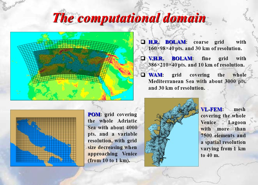 The computational domain POM POM: grid covering the whole Adriatic Sea with about 4000 pts.