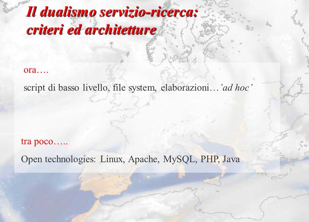 Il dualismo servizio-ricerca: criteri ed architetture ora…. script di basso livello, file system, elaborazioni…ad hoc tra poco….. Open technologies: L