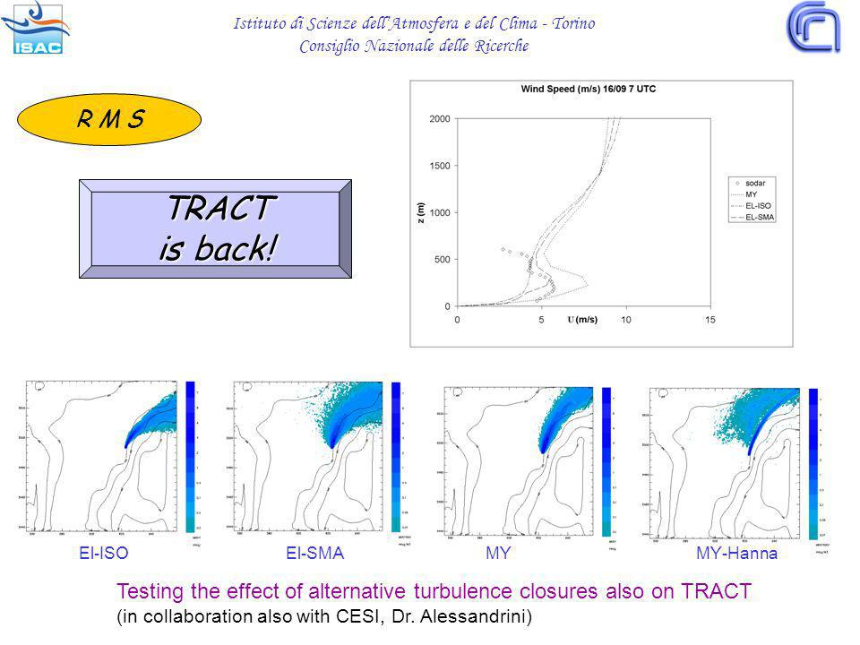 Testing the effect of alternative turbulence closures also on TRACT (in collaboration also with CESI, Dr.