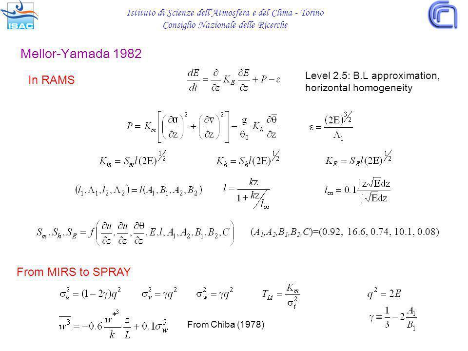 Istituto di Scienze dellAtmosfera e del Clima - Torino Consiglio Nazionale delle Ricerche In RAMS (A 1,A 2,B 1,B 2,C)=(0.92, 16.6, 0.74, 10.1, 0.08) F