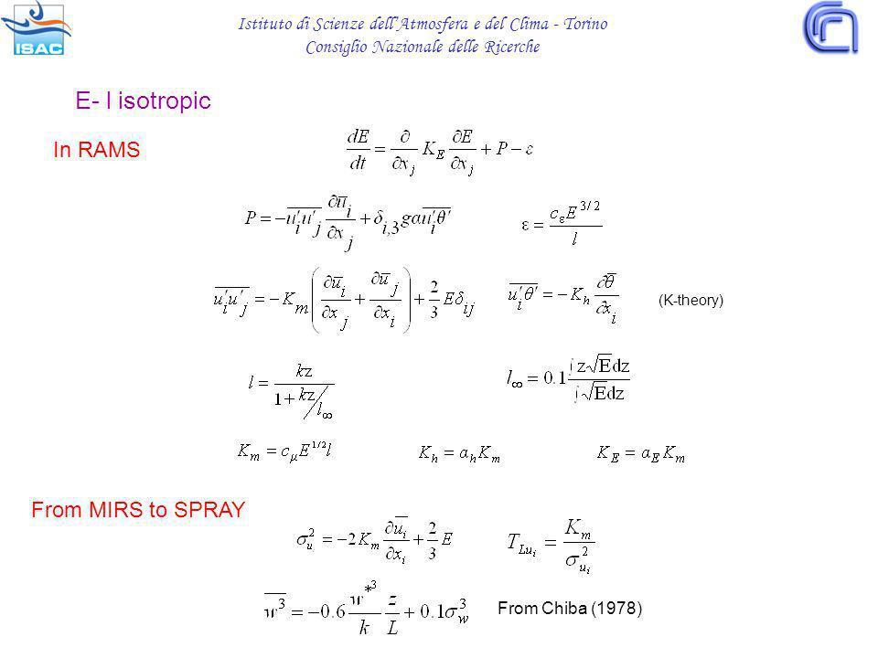 Istituto di Scienze dellAtmosfera e del Clima - Torino Consiglio Nazionale delle Ricerche E- l isotropic In RAMS (K-theory) From MIRS to SPRAY From Chiba (1978)