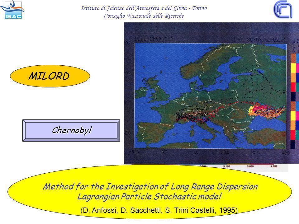 MILORD Chernobyl Istituto di Scienze dellAtmosfera e del Clima - Torino Consiglio Nazionale delle Ricerche Method for the Investigation of Long Range Dispersion Lagrangian Particle Stochastic model (D.