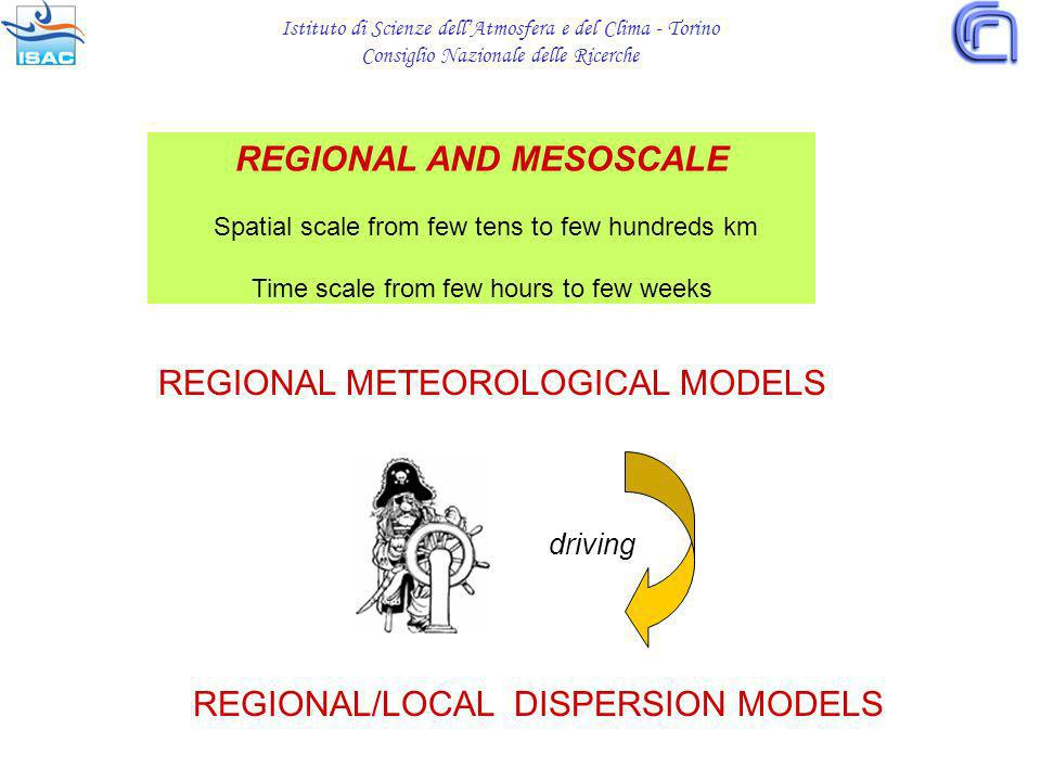 Istituto di Scienze dellAtmosfera e del Clima - Torino Consiglio Nazionale delle Ricerche REGIONAL/LOCAL DISPERSION MODELS REGIONAL AND MESOSCALE Spatial scale from few tens to few hundreds km Time scale from few hours to few weeks REGIONAL METEOROLOGICAL MODELS driving