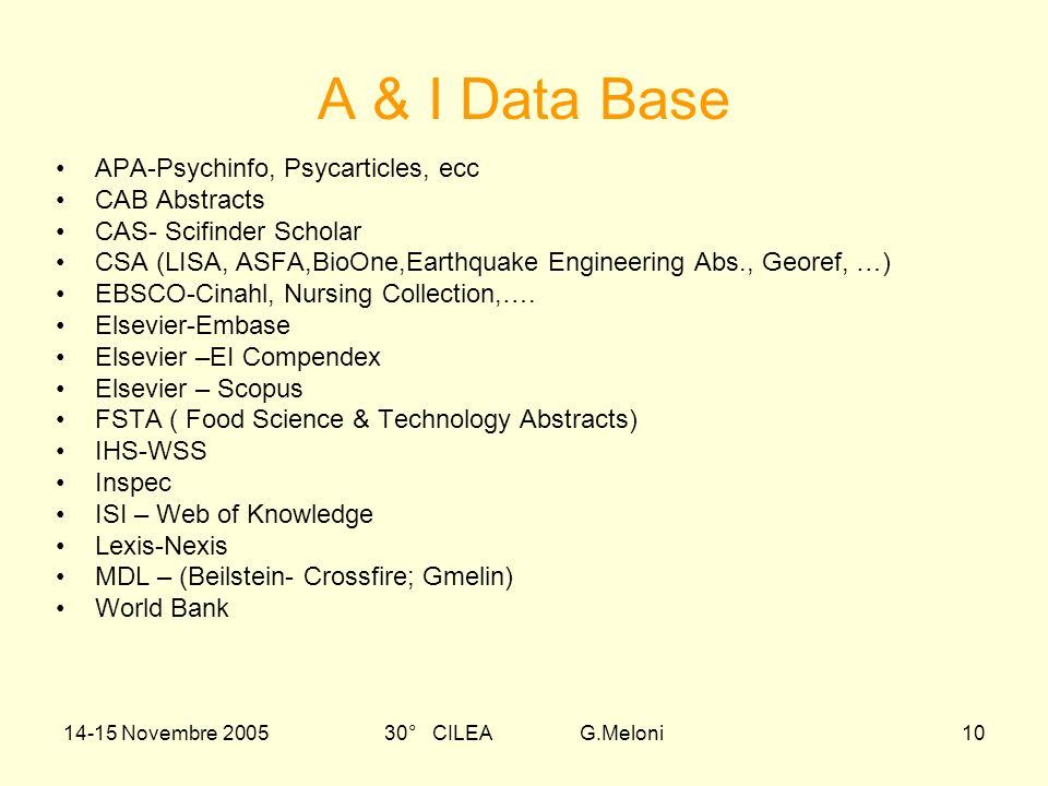 14-15 Novembre 200530° CILEA G.Meloni10 APA-Psychinfo, Psycarticles, ecc CAB Abstracts CAS- Scifinder Scholar CSA (LISA, ASFA,BioOne,Earthquake Engineering Abs., Georef, …) EBSCO-Cinahl, Nursing Collection,….