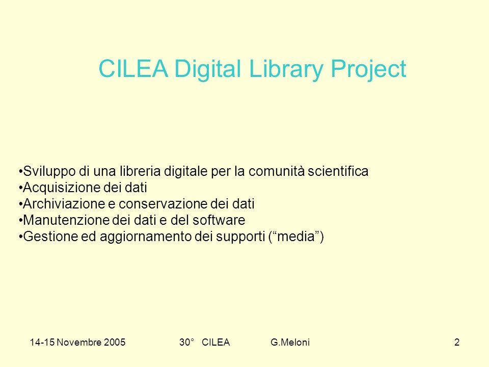 30° CILEA G.Meloni2 Sviluppo di una libreria digitale per la comunità scientifica Acquisizione dei dati Archiviazione e conservazione dei dati Manuten