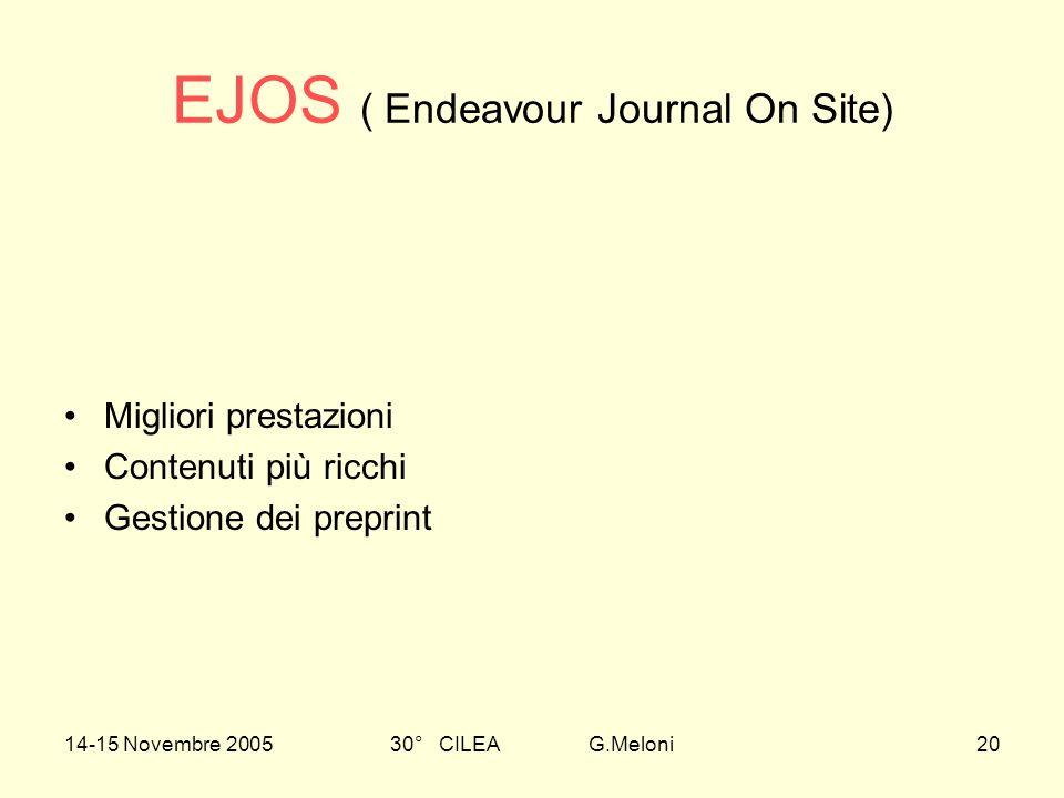 14-15 Novembre 200530° CILEA G.Meloni20 EJOS ( Endeavour Journal On Site) Migliori prestazioni Contenuti più ricchi Gestione dei preprint