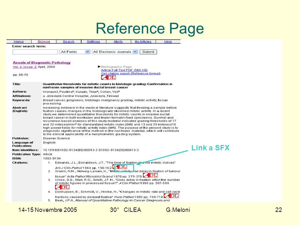 14-15 Novembre 200530° CILEA G.Meloni22 Reference Page Link a SFX