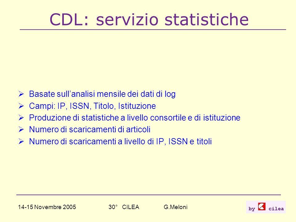 14-15 Novembre 200530° CILEA G.Meloni25 CDL: servizio statistiche Basate sullanalisi mensile dei dati di log Campi: IP, ISSN, Titolo, Istituzione Prod