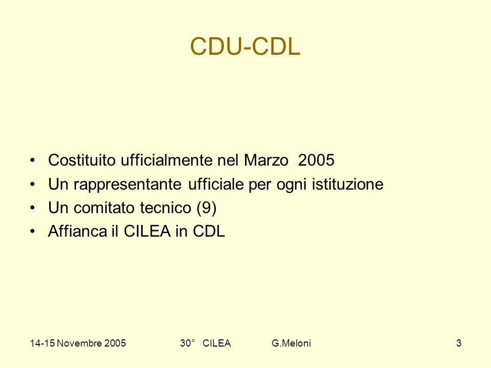 14-15 Novembre 200530° CILEA G.Meloni3 CDU-CDL Costituito ufficialmente nel Marzo 2005 Un rappresentante ufficiale per ogni istituzione Un comitato te