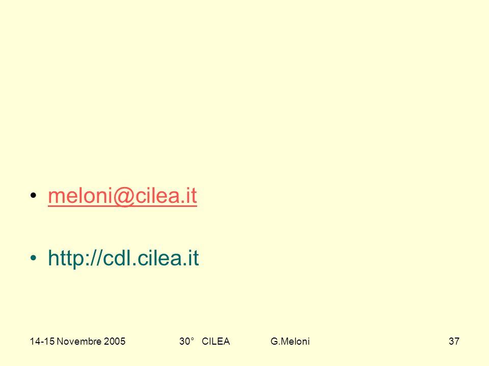 14-15 Novembre 200530° CILEA G.Meloni37 meloni@cilea.it http://cdl.cilea.it