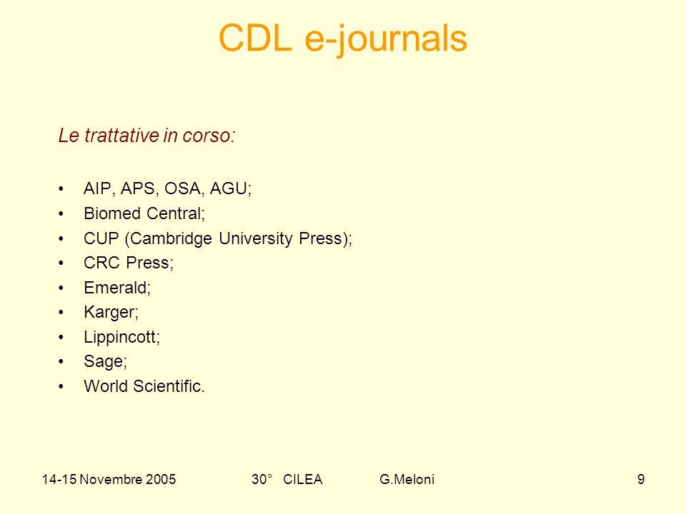 14-15 Novembre 200530° CILEA G.Meloni10 APA-Psychinfo, Psycarticles, ecc CAB Abstracts CAS- Scifinder Scholar CSA (LISA, ASFA,BioOne,Earthquake Engineering Abs., Georef, …) EBSCO-Cinahl, Nursing Collection,….
