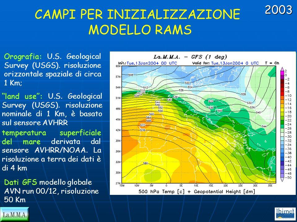 CAMPI PER INIZIALIZZAZIONE MODELLO RAMS Orografia: U.S. Geological Survey (USGS). risoluzione orizzontale spaziale di circa 1 Km; land use: U.S. Geolo