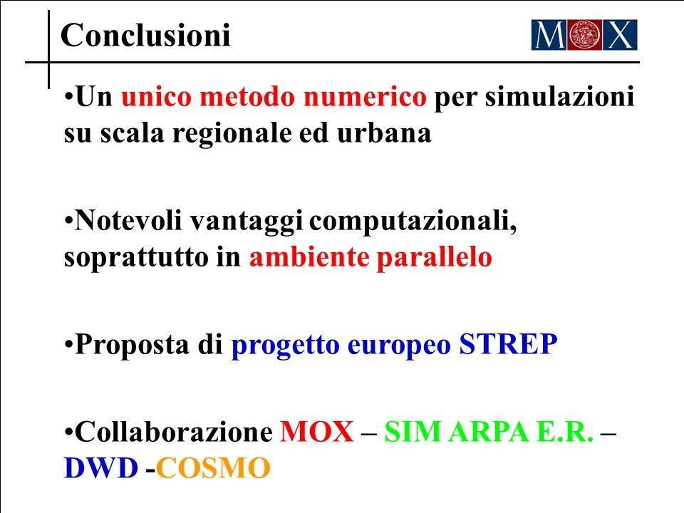 Conclusioni Un unico metodo numerico per simulazioni su scala regionale ed urbana Notevoli vantaggi computazionali, soprattutto in ambiente parallelo Proposta di progetto europeo STREP Collaborazione MOX – SIM ARPA E.R.