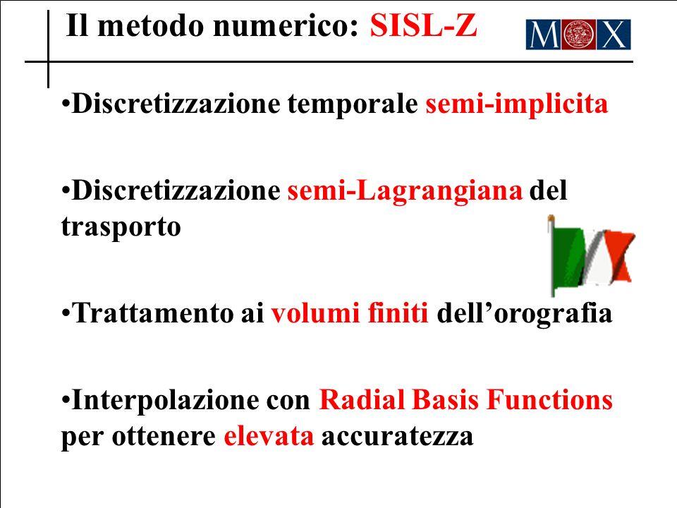 Il metodo numerico: SISL-Z Discretizzazione temporale semi-implicita Discretizzazione semi-Lagrangiana del trasporto Trattamento ai volumi finiti dellorografia Interpolazione con Radial Basis Functions per ottenere elevata accuratezza