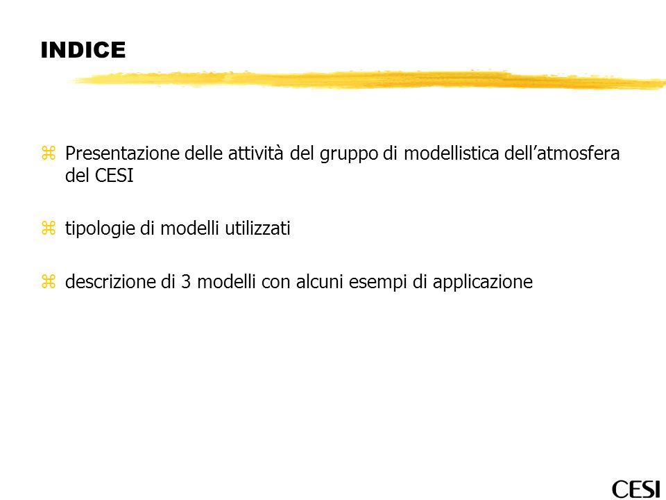 INDICE zPresentazione delle attività del gruppo di modellistica dellatmosfera del CESI ztipologie di modelli utilizzati zdescrizione di 3 modelli con