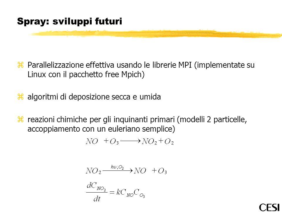 Spray: sviluppi futuri zParallelizzazione effettiva usando le librerie MPI (implementate su Linux con il pacchetto free Mpich) zalgoritmi di deposizio