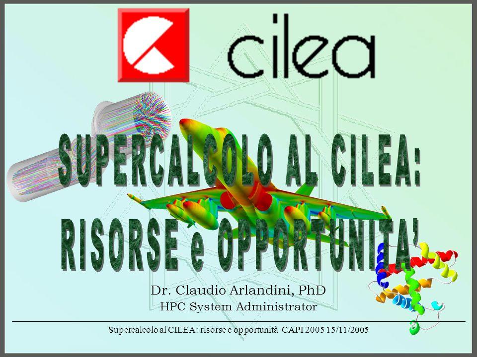 Supercalcolo al CILEA: risorse e opportunità CAPI 2005 15/11/2005 CILEA Productive Unit for High Performance Computing Support (http://www.cilea.it/servizi/b/) Hardware Resources Exadron 32 & 64bit cluster: 256 CPUs Intel Xeon 3.06GHz + Myrinet 72 CPUs AMD Opteron 2.2GHz + Infiniband HP Cluster: SuperDome SD 64000 (64 CPUs) V2500 Enterprise Server (20 CPUs) 2 N4000 Enterprise Server (8 + 8 CPUs) Vector Computing Machine: NEC SX-5/4s (4 CPUs) ( http://www.supercomputing.it/fcilea.htm )