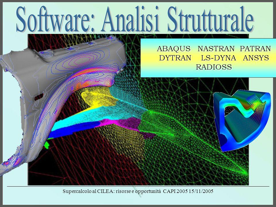 Supercalcolo al CILEA: risorse e opportunità CAPI 2005 15/11/2005 ABAQUS NASTRAN PATRAN DYTRAN LS-DYNA ANSYS RADIOSS