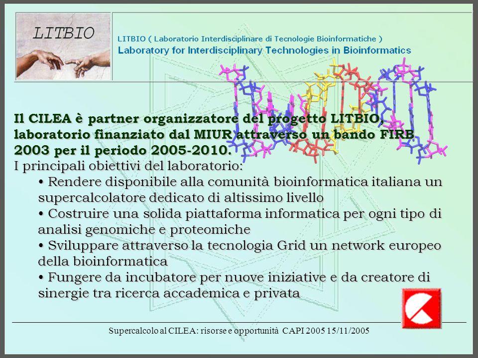 Supercalcolo al CILEA: risorse e opportunità CAPI 2005 15/11/2005 Il CILEA è partner organizzatore del progetto LITBIO, laboratorio finanziato dal MIUR attraverso un bando FIRB 2003 per il periodo 2005-2010.