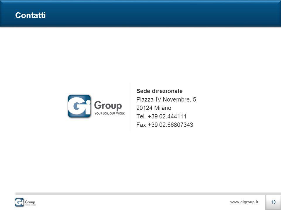 www.gigroup.it Sede direzionale Piazza IV Novembre, 5 20124 Milano Tel. +39 02.444111 Fax +39 02.66807343 10 Contatti