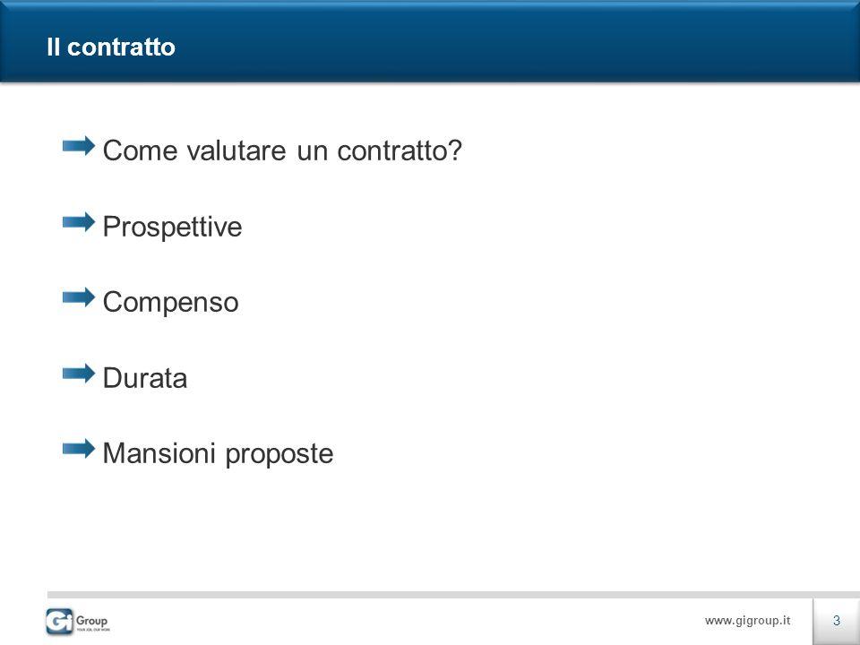 www.gigroup.it Il contratto Come valutare un contratto? Prospettive Compenso Durata Mansioni proposte 3