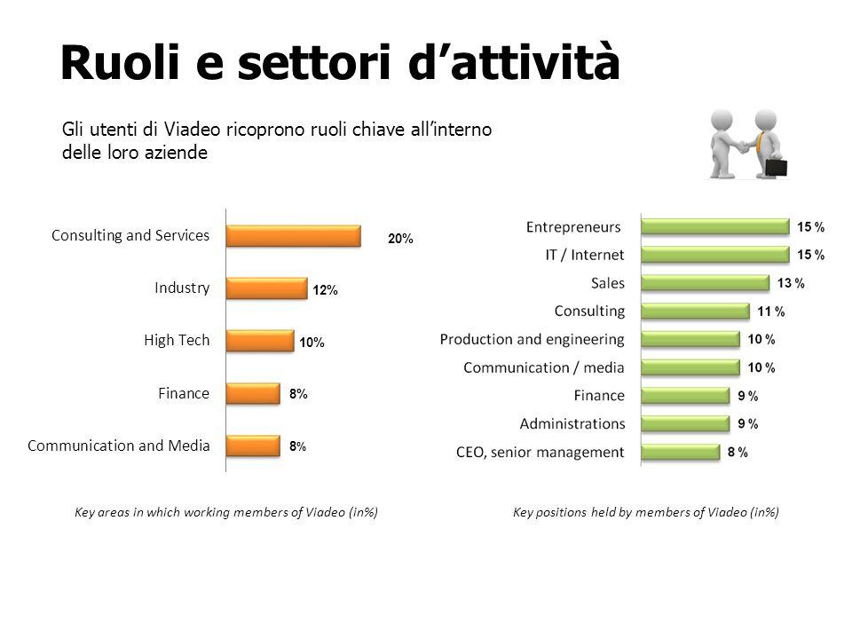 Ruoli e settori dattività Key positions held by members of Viadeo (in%) Gli utenti di Viadeo ricoprono ruoli chiave allinterno delle loro aziende Key areas in which working members of Viadeo (in%) 20%