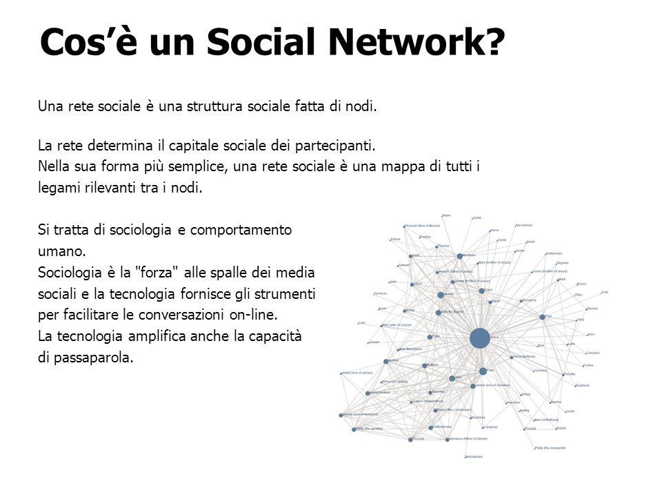 Cosè un Social Network. Una rete sociale è una struttura sociale fatta di nodi.