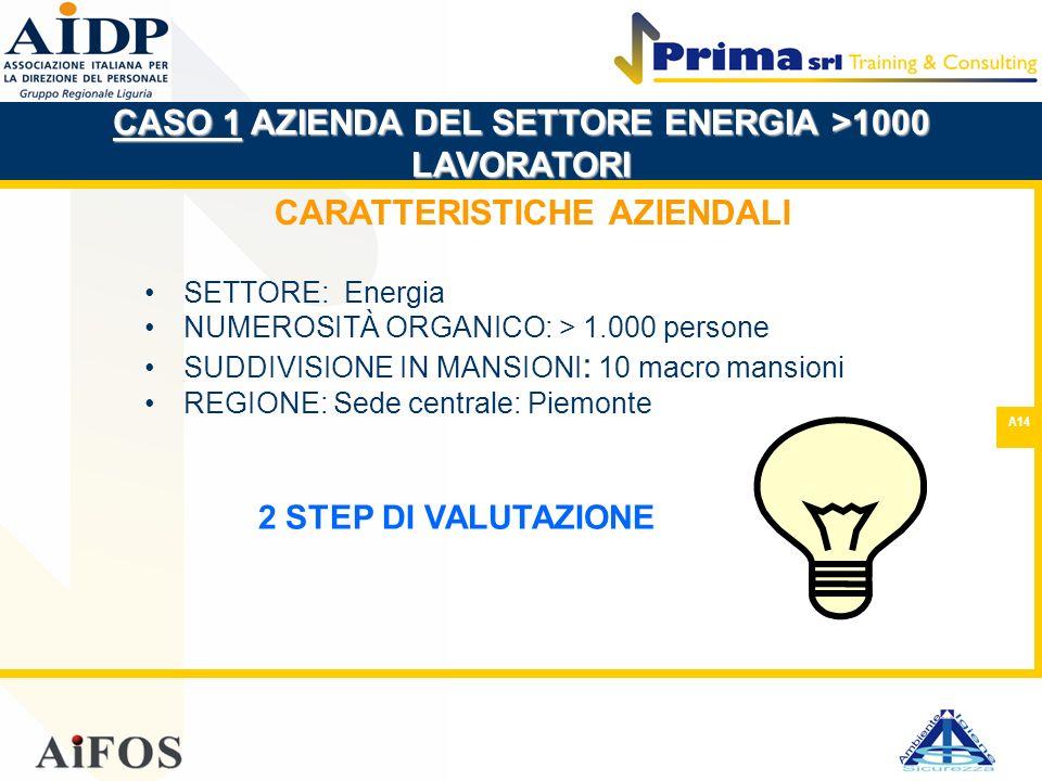 A14 CARATTERISTICHE AZIENDALI SETTORE: Energia NUMEROSITÀ ORGANICO: > 1.000 persone SUDDIVISIONE IN MANSIONI : 10 macro mansioni REGIONE: Sede central