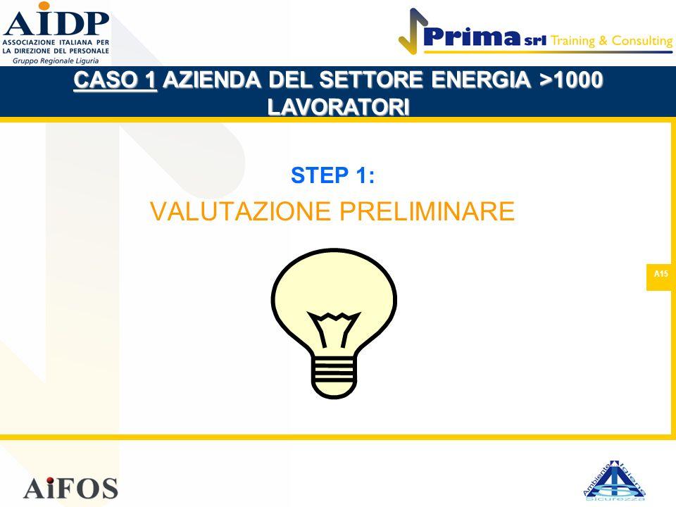 A15 STEP 1: VALUTAZIONE PRELIMINARE CASO 1 AZIENDA DEL SETTORE ENERGIA >1000 LAVORATORI