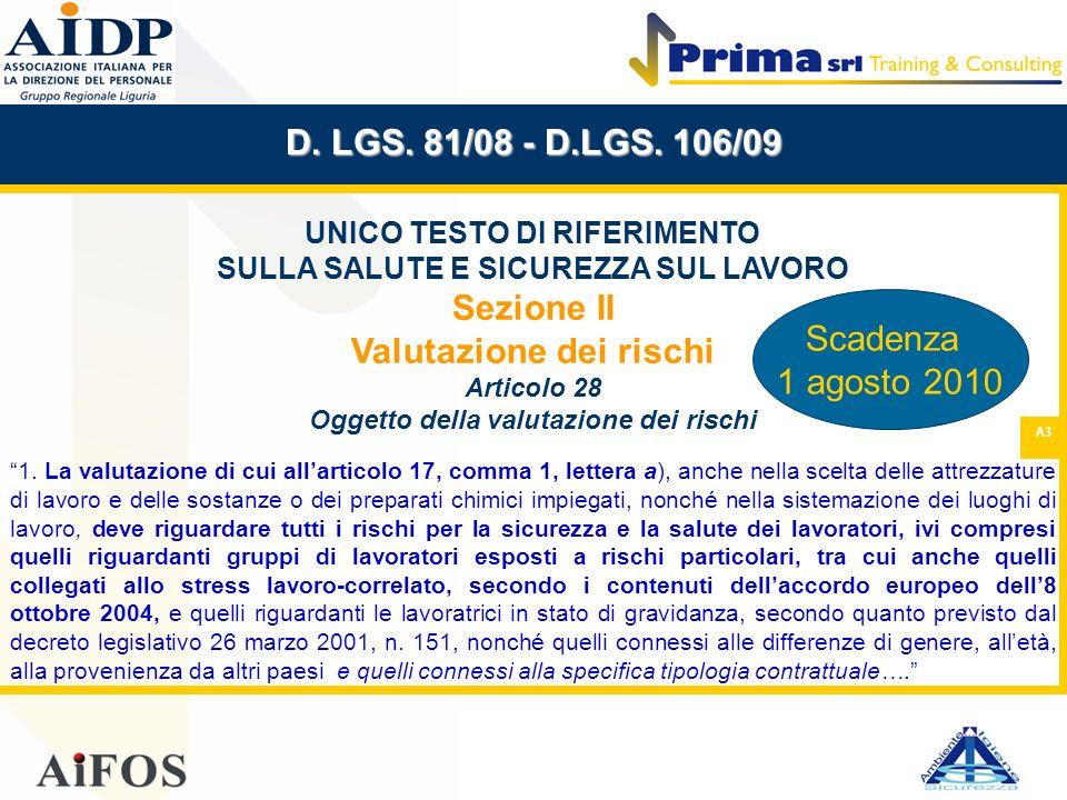 A3 D. LGS. 81/08 - D.LGS. 106/09 UNICO TESTO DI RIFERIMENTO SULLA SALUTE E SICUREZZA SUL LAVORO Sezione II Valutazione dei rischi Articolo 28 Oggetto