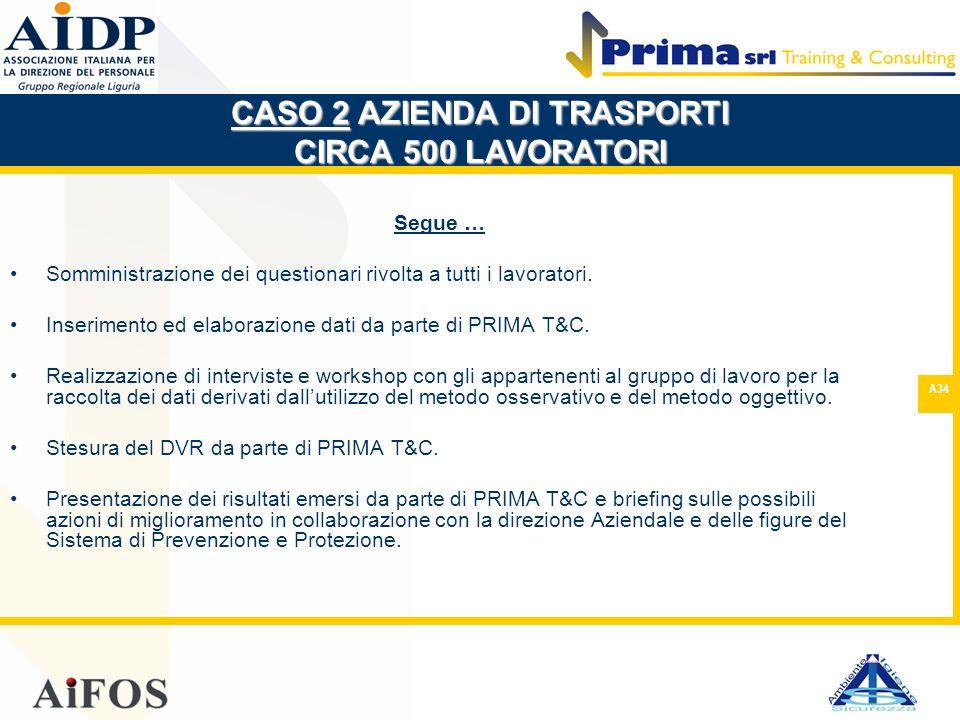 A34 Segue … Somministrazione dei questionari rivolta a tutti i lavoratori. Inserimento ed elaborazione dati da parte di PRIMA T&C. Realizzazione di in