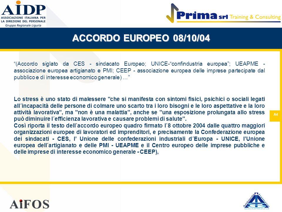 A4 ACCORDO EUROPEO 08/10/04 (Accordo siglato da CES - sindacato Europeo; UNICE-confindustria europea; UEAPME - associazione europea artigianato e PMI;